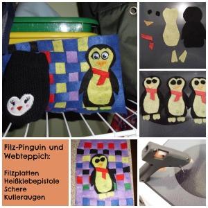 Filzwebteppich mit Pinguin. Melmax Melmac 2014.